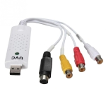 Portable USB 2.0 Audio Video Capture Card Adapter VHS to DVD Video Capture for Win7 / Win8/ XP/ Vista, Free Drive