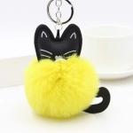 Fluffy Rabbit Fur Ball Cat Head Doll Toy Pompom Plush Keychains(Coffee)