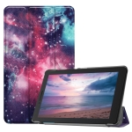 Galaxy Pattern Colored Painted Horizontal Flip PU Leather Case for Lenovo Tab E8 TB-8304F, with Three-folding Holder