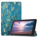 Apricot Pattern Colored Painted Horizontal Flip PU Leather Case for Lenovo Tab E8 TB-8304F, with Three-folding Holder