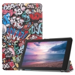 Graffiti Pattern Colored Painted Horizontal Flip PU Leather Case for Lenovo Tab E8 TB-8304F, with Three-folding Holder