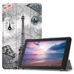Retro Tower Pattern Colored Painted Horizontal Flip PU Leather Case for Lenovo Tab E8 TB-8304F, with Three-folding Holder