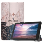 French Flower Texture Pattern Colored Painted Horizontal Flip PU Leather Case for Lenovo Tab E8 TB-8304F, with Three-folding Holder