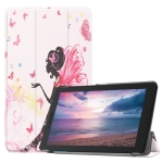 Butterfly Fairy Girl Pattern Colored Painted Horizontal Flip PU Leather Case for Lenovo Tab E8 TB-8304F, with Three-folding Holder