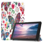 Colorful Butterflies Pattern Colored Painted Horizontal Flip PU Leather Case for Lenovo Tab E8 TB-8304F, with Three-folding Holder