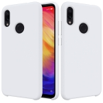 Solid Color Liquid Silicone Dropproof Protective Case for XiaoMi RedMi Note 7 (White)