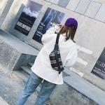 Retro Plaid Nylon Shoulder Bag Waist Bag Crossbody Chest Bag (Black)