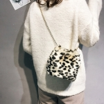Fashion Leopard Plush Chain-strap Single Shoulder Bag Ladies Handbag (Khaki)