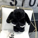 Cute Dead Rabbit Plush Chain-strap Shoulder Bag Crossbody Bag (Black)