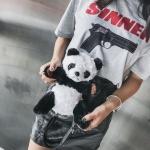 Panda Shaped Velvet Shoulder Bag Crossbody Bag (Black)