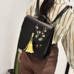 Embroidered Flowers PU Leather Double Shoulders School Bag Travel Backpack Bag (Black)