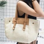 Straw Weaving Single Shoulder Bag Ladies Handbag (White)