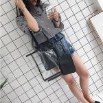 2 in 1 Clear Bag Single Shoulder Bag Ladies Handbag (Black)