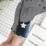 Star Pattern PU Leather Shoulder Messenger Cellphone Crossbody Bucket Bag (Black)