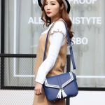 Tassel Cross Texture PU Leather Single Shoulder Crossbody Bag Ladies Handbag (Blue)
