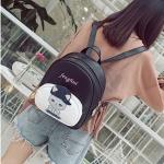 Baseball Cute Cat Pattern PU Leather Double Shoulders Travel Backpack Bag (Black)