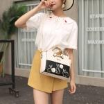 Cute Rabbit PU Leather Single Shoulder Crossbody Bag Ladies Handbag (Black)