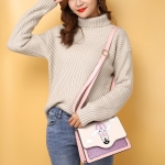 Balloon Embroidered Hot Air Balloon and Cat Glitter PU Leather Single Shoulder Crossbody Bag Ladies Handbag (Pink)