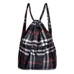 Printing Double Shoulders Drawstring Sports Backpack Bag (Black Grid)