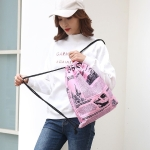 News Newspaper Pattern Printing Double Shoulders Drawstring Sports Backpack Bag (Pink)
