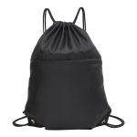 Drawstring Nylon Double Shoulders Sports Backpack Bag (Black)