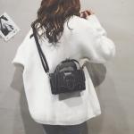 Big Belt Buckle Fahion PU Leather Shoulder Bag Ladies Handbag Messenger Bag (Black)