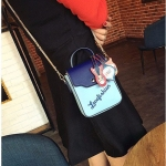 Horsehead Small Square Bag PU Leather Chain-strap Single Shoulder Crossbody Bag Ladies Handbag (Blue)
