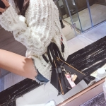 Pyramid Shaped PU Leather Single Shoulder Bag Ladies Handbag Messenger Bag (Black)