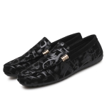 Round Head Lightweight and Comfortable Peas Shoes for Men (Color:Black Size:39)