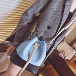 Handle Ring Drawstring PU Leather Single Shoulder Bag Bucket Bag Ladies Handbag Messenger Bag (Blue)