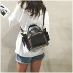 2 in 1 Clear Plastic Ribbon Single Shoulder Bag Ladies Handbag Messenger Bag (Black)