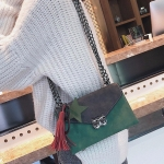 Fashion PU Leather Single Shoulder Bag Ladies Handbag Messenger Bag with Star Pendant (Green)