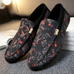 Round Head Flower Cloth Lightweight and Comfortable Peas for Shoes (Color:Black Red Size:39)