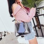 Clear PVC+PU Shoulder Bag Ladies Handbag Messenger Bag (Black)