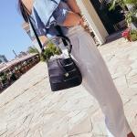 Hollow Drawstring PU Shoulder Bag Ladies Handbag Messenger Bag (Black)