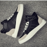 Breathable and Comfortable Lace-up High-top Shoes for Men (Color:Black Size:39)