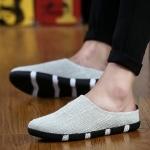 Plain Low-cut Casual Half Slippers for Men (Color:Beige Size:39)