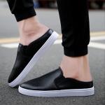 Summer Casual Half Slippers for Men (Color:Black Size:39)