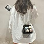 3D Clouds Stars Chain-strap PU Leather Shoulder Bag Ladies Handbag Messenger Bag (Black)