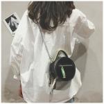 Round PU Leather Chain-strap Single Shoulder Bag Ladies Handbag Messenger Bag (Black)