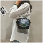 Ink Painting Flower PU Leather Chain-strap Single Shoulder Bag Ladies Handbag Messenger Bag (Black)