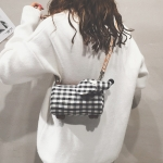 Dog Shape Canvas Lattice Single Shoulder Bag Ladies Handbag Messenger Bag (Black)