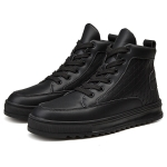 High-top Hip-hop Solid Color Fashion Casual Sport Shoes for Men (Color:Black Size:39)