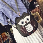 Owl PU Leather Single Double Shoulders Bag Ladies Handbag Messenger Bag (Black)