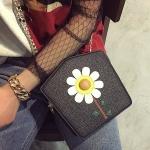 Flower PU Leather Shoulder Bag Ladies Handbag Messenger Bag (Black)
