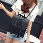 Shoelace Tassel PU Leather Double Shoulders Bag Ladies Handbag (Black)