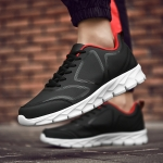 Lace-up Trend Solid Color Microfiber Leather Outdoor Casual Shoes (Color:Black Red Size:38)