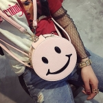 Smile PU Leather Double&Single Shoulder Bag Ladies Handbag Messenger Bag (Pink)