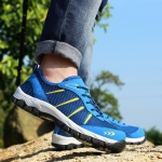Round Head Mesh Laced-up Outdoor Hiking Shoes (Color:Blue Size:39)