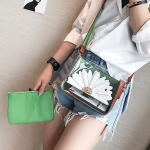 3D Chrysanthemum 2 in 1 PU Leather Shoulder Bag Ladies Handbag Messenger Bag (Green)